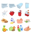 Supermarket icons set cartoon style vector image