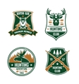 Hunting club shields set Hunt sports emblems vector image vector image