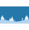 Collection of winter people playing ski Christmas vector image