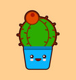 cute cartoon cactus icon with funny face in pot vector image