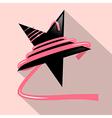 Black Star with Pink Ribbon vector image vector image