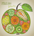 big apple with different fruits in vector image