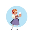 Attractive woman in dirndl with beer and pretzel vector image