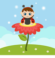 Baby dressed as ladybug on the flower vector image