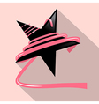 Black Star with Pink Ribbon vector image