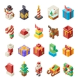 Lowpoly Polygonal Christmas Isometric 3d Icons Set vector image
