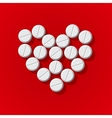 Pills in heart arrange on red background vector image