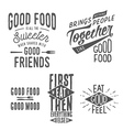 Vintage food related typographic quotes vector image