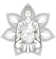 Sitting Buddha in Lotus pose isolated on vector image