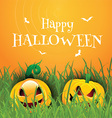 Happy Halloween background with pumpkins vector image