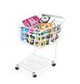 Set of Hardware Computer in A Shopping Cart vector image