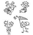cute girl doodle version vector image vector image