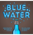 Blue water alphabet and numbers vector image