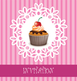 invitation card with cupcake vector image