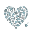 Marine life heart shape sketch for your design vector image