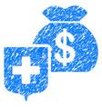 money bag shield grunge icon vector image