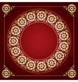 red background with golden floral frame vector image