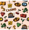 Seamless casino handdrawn pattern with - dice vector image