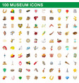 100 museum icons set cartoon style vector image