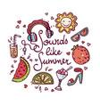 summer doodle set vector image vector image