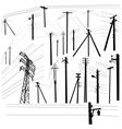 Pylon high voltage power lines silhouette set vector image