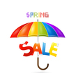 Colorful Spring Sale Background with Umbrella vector image