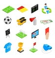 Soccer isometric 3d icons set vector image