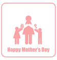 Happy Mothers Day Mom and Children Stick Figure vector image