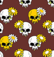 Daisy and skull seamless pattern Symbol of death vector image