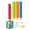 pencil sharpener and colored pencils on white back vector image