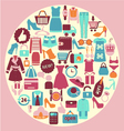Shopping and fashion icons - background vector image