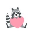 Cute Raccoon Character With Giant Pink Heart vector image
