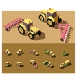 isometric low poly tractor vector image