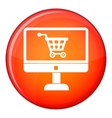 Purchase at online store through computer icon vector image vector image