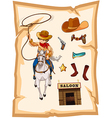 A paper with a drawing of a cowboy and a saloon vector image vector image