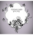 Vintage Floral Card with Violets and Butterflies vector image