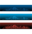 City Skylines in two night versions and sunset vector image vector image