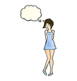 cartoon pretty woman in dress with thought bubble vector image