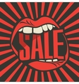 inscription sale in the human mouth vector image