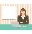 Business woman sitting at the office desk vector image