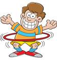 Cartoon boy with a hula hoop vector image