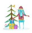 Fun winter holiday rabbit for kids with fur tree vector image
