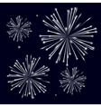 Grayscale shiny fireworks on black background vector image