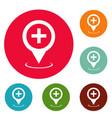 hospital map pointer icons circle set vector image