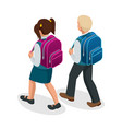 isometric boy and girl back to school concept vector image