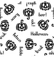 pumpkin and halloween word seamless pattern black vector image