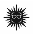 Sun in glasses icon simple style vector image