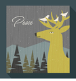 retro greeting card winter scene deer and birds vector image vector image