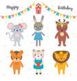 happy birthday design with cute cartoon animals vector image