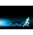 blue shining runner on the black background vector image